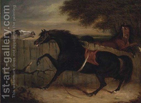 The stallion Smolensko with a grey mare and another horse by a fence by Henry Bernard Chalon - Reproduction Oil Painting