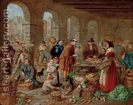A market by Henry Charles Bryant - Reproduction Oil Painting