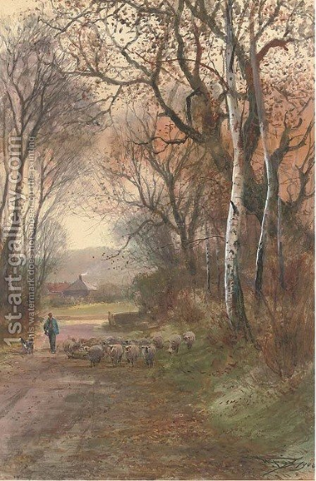 A shepherd and his flock wandering down a rural lane by Henry Charles Fox - Reproduction Oil Painting