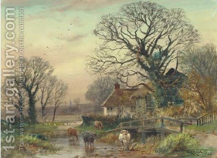 Cattle crossing a ford at Fordingbridge, Hampshire by Henry Charles Fox - Reproduction Oil Painting