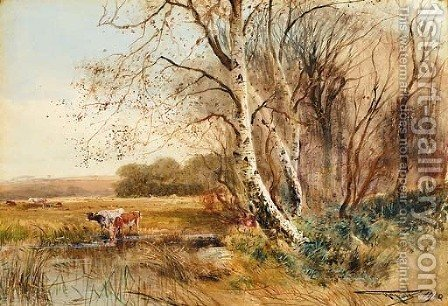 Cattle watering by Henry Charles Fox - Reproduction Oil Painting