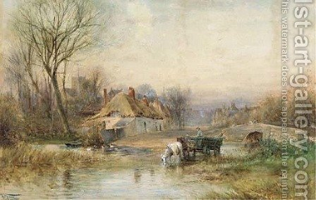 Horses pulling cart watering in a river by a rural village by Henry Charles Fox - Reproduction Oil Painting