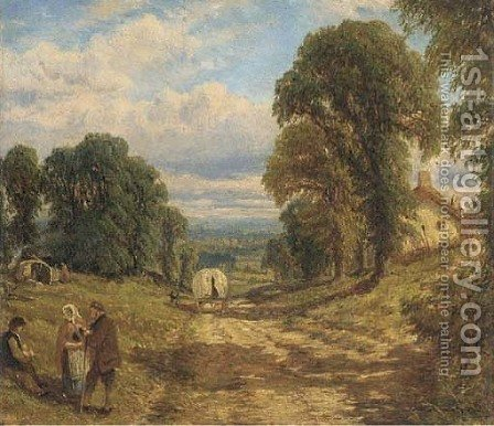 Tinkers in a wooded landscape by Henry Thomas Dawson - Reproduction Oil Painting