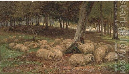 A flock of sheep in a woodland by Henry Garland - Reproduction Oil Painting