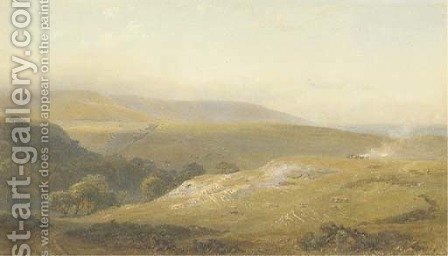 The Downs near Eastbourne by Henry George Hine - Reproduction Oil Painting
