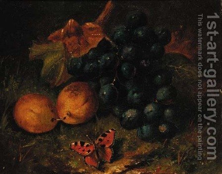Grapes, plums and a butterfly on a mossy bank by Henry George Todd - Reproduction Oil Painting