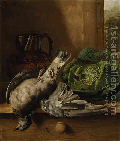 Still Life of Game, Copper Urn and Cabbage on a Wooden Ledge by Henry George Todd - Reproduction Oil Painting
