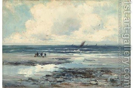 Waiting for the fishing boats, Cardigan Bay by Henry Hadfield Cubley - Reproduction Oil Painting