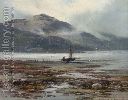 Waiting for the tide, Barmouth by Henry Hadfield Cubley - Reproduction Oil Painting