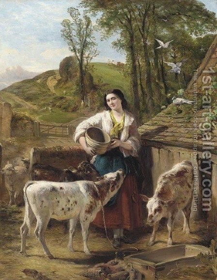 The calf yard by Henry Hetherington Emmerson - Reproduction Oil Painting
