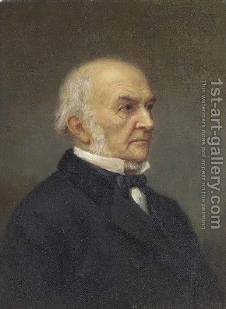 Portrait of the Right Hon. William Ewart Gladstone (1809-1898) by Henry Jermyn Brooks - Reproduction Oil Painting