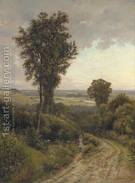 In the valley of the Thames by Henry James Johnstone - Reproduction Oil Painting