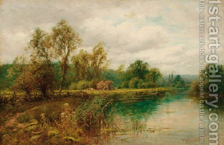 Harvesting by the Thames by Henry John Kinnaird - Reproduction Oil Painting