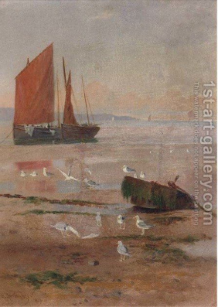 Seagulls on beach at low tide with fishing boats on the shore by Henry Spernon Tozer - Reproduction Oil Painting