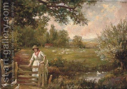 Feeding the ducks by Henry John Yeend King - Reproduction Oil Painting