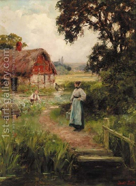 The cottage garden by Henry John Yeend King - Reproduction Oil Painting