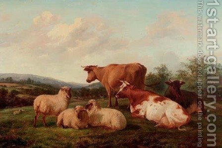 A hilltop pasture by Henry Hillier Parker - Reproduction Oil Painting