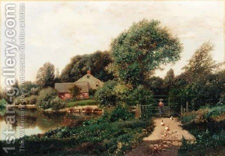 Walking with the Ducks by Henry Pember Smith - Reproduction Oil Painting