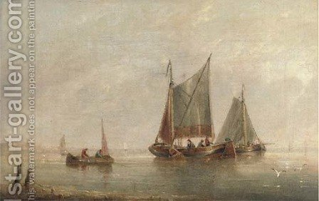 Fishermen pulling in their nets by Henry Redmore - Reproduction Oil Painting