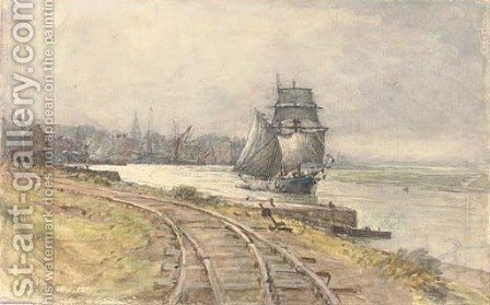A trading schooner sailing down the river by Henry Robert Robertson - Reproduction Oil Painting