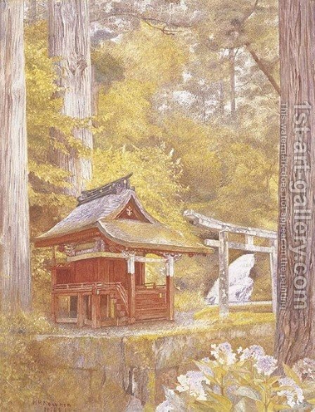 Pagoda in the Woods, Nikko, Japan by Henry Roderick Newman - Reproduction Oil Painting