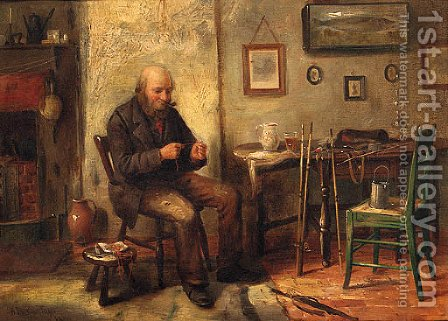 An Angler Preparing His Bait by Henry Spernon Tozer - Reproduction Oil Painting