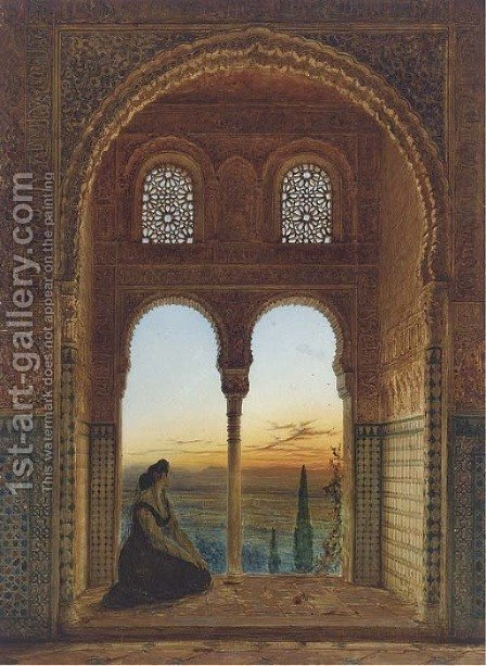 The Alhambra, Granada, at dusk by Henry Stanier - Reproduction Oil Painting