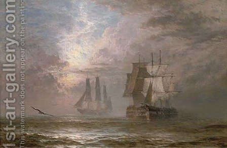 A collision at twilight by Henry Thomas Dawson - Reproduction Oil Painting