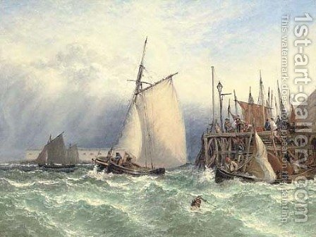 Choppy waters off the entrance to Portsmouth harbour by Henry Thomas Dawson - Reproduction Oil Painting
