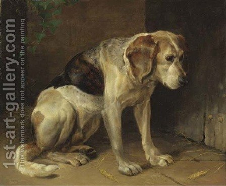 A hound by Henry Weekes - Reproduction Oil Painting