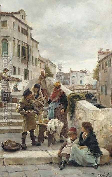 Bartering by Henry Woods - Reproduction Oil Painting