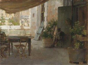 Reproduction oil paintings - Henry Woods - On the terrace of a Venetian villa