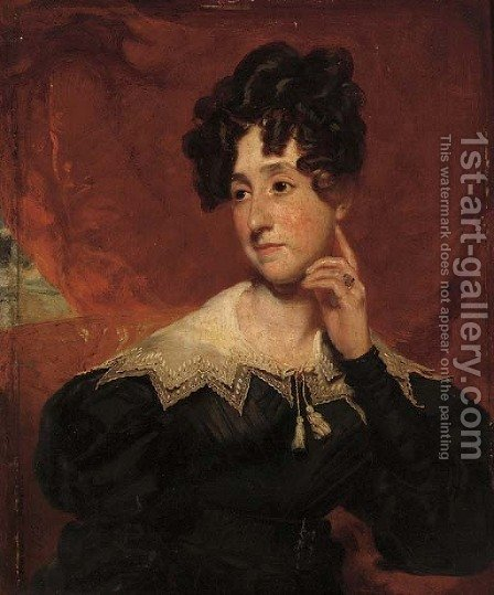 Portrait of Mrs Campbell, bust-length, seated in an interior by Henry Wyatt - Reproduction Oil Painting