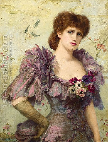 Portrait of Lillie Langtry, half-length, in a purple dress with poppies at her corsage by Herbert Gustav Schmalz - Reproduction Oil Painting
