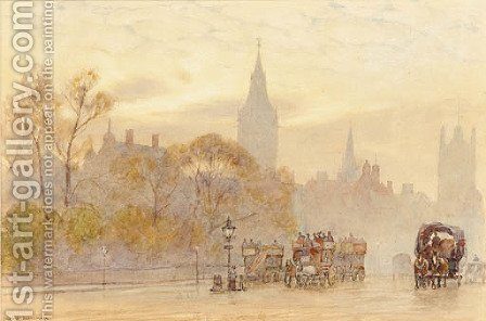 A London street scene at dusk by Herbert Menzies Marshall - Reproduction Oil Painting