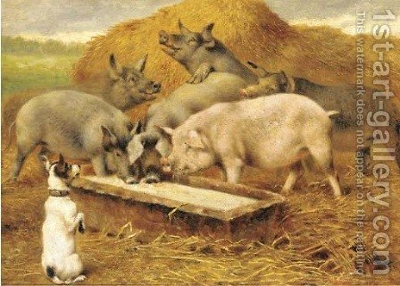 Feeding time by Herbert William Weekes - Reproduction Oil Painting