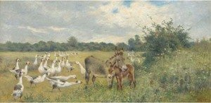 Reproduction oil paintings - Herbert William Weekes - The unwelcome guest