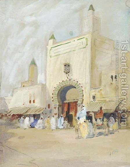 Gate in Kairouan by Hercules Brabazon Brabazon - Reproduction Oil Painting