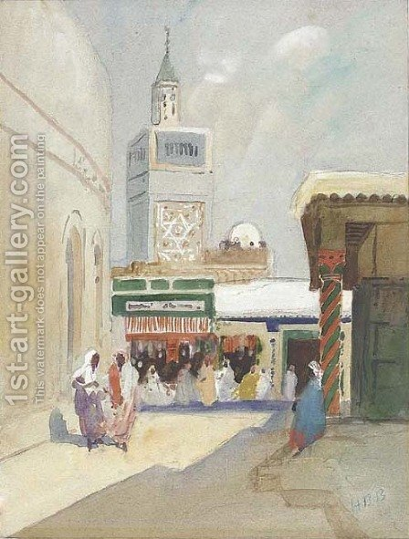 Street scene, Tunisia by Hercules Brabazon Brabazon - Reproduction Oil Painting