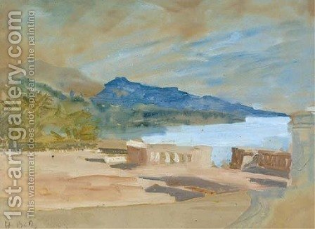 View from a terrace over a lake by Hercules Brabazon Brabazon - Reproduction Oil Painting