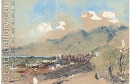 View of Lucerne, Switzerland by Hercules Brabazon Brabazon - Reproduction Oil Painting
