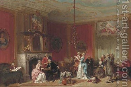 A musical evening by Herman Frederik Carel ten Kate - Reproduction Oil Painting