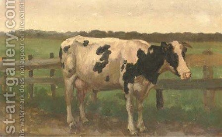 A cow in a meadow by Herman Gerhardus Wolbers - Reproduction Oil Painting