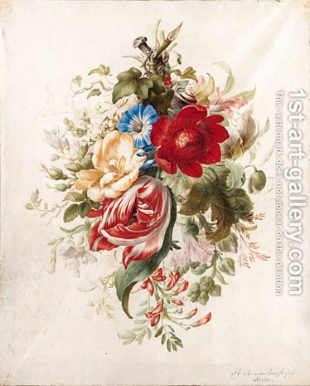 A spray of flowers, including a tulip, roses, poppies, morning glory, a hollyhock and ivy attached to a nail, with a snail and ants by Herman Henstenburgh - Reproduction Oil Painting