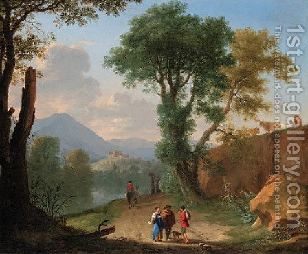 An Italianate landscape with travellers and peasants on a path by a river by Herman Van Swanevelt - Reproduction Oil Painting