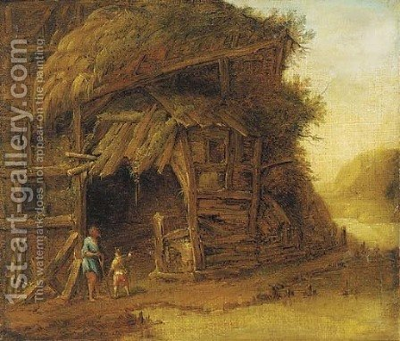Peasants before a barn by Herman Van Swanevelt - Reproduction Oil Painting