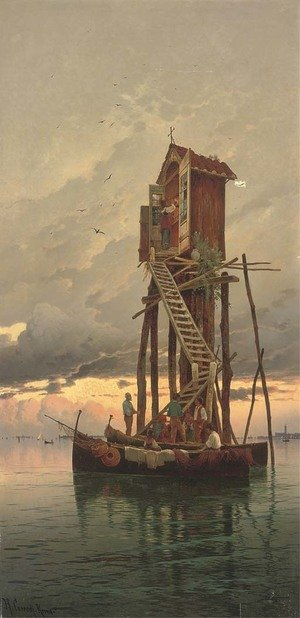 Reproduction oil paintings - Hermann David Solomon Corrodi - A visit to a shrine on the Venetian Lagoon