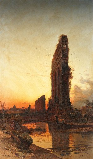 Reproduction oil paintings - Hermann David Solomon Corrodi - The Roman aqueducts at sunset