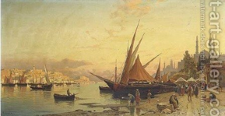 View of the Bosphorus, Constantinople by Hermann David Solomon Corrodi - Reproduction Oil Painting