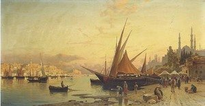 Reproduction oil paintings - Hermann David Solomon Corrodi - View of the Bosphorus, Constantinople
